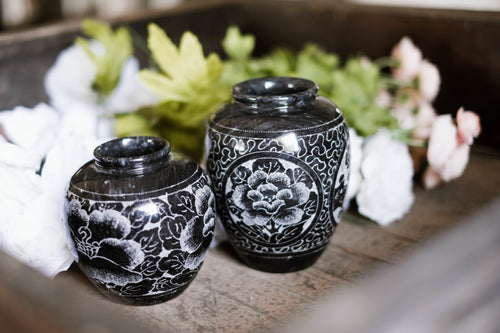 Set of 2 Etched Granite Vases