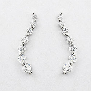 Sterling silver graduated drop CZ earrings