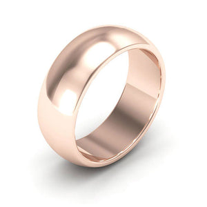 14K Rose Gold 7mm heavy weight half round  wedding bands