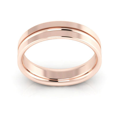14K Rose Gold 5mm grooved comfort fit wedding bands