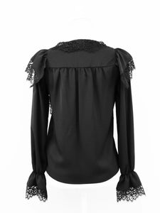 Heroine lace blouse (black) - Poupee Boutique