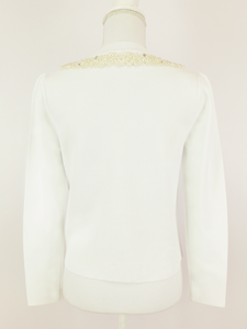 Dressy knit jacket (white) - Poupee Boutique