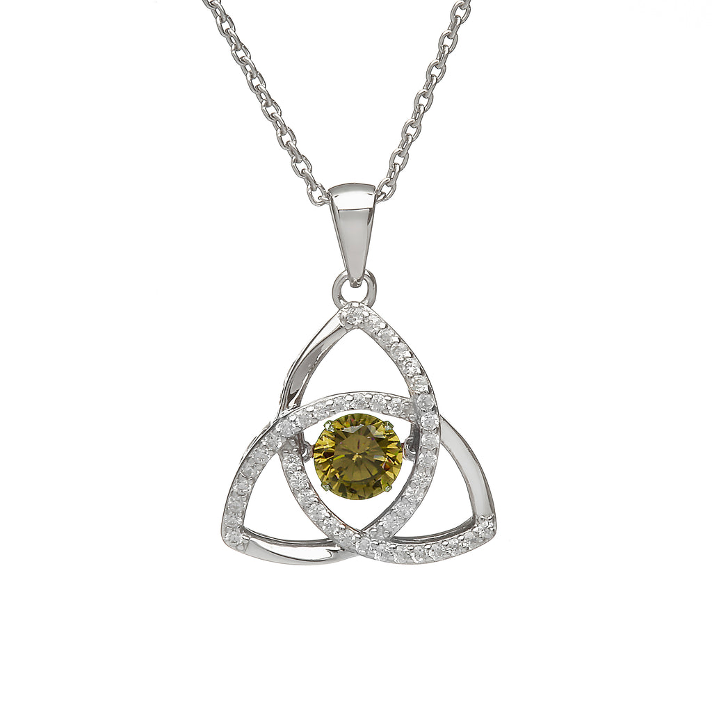 Sterling Silver Dancing Birthstone Pendant August (Peridot CZ)