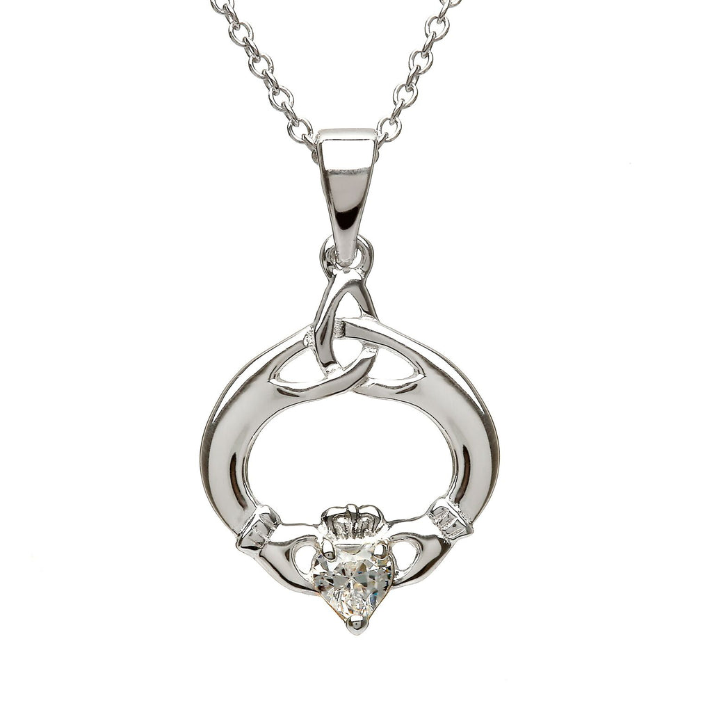 Sterling Silver Claddagh Trinity Knot Pendant Set with Heart Shaped Birthstone (CZ) April