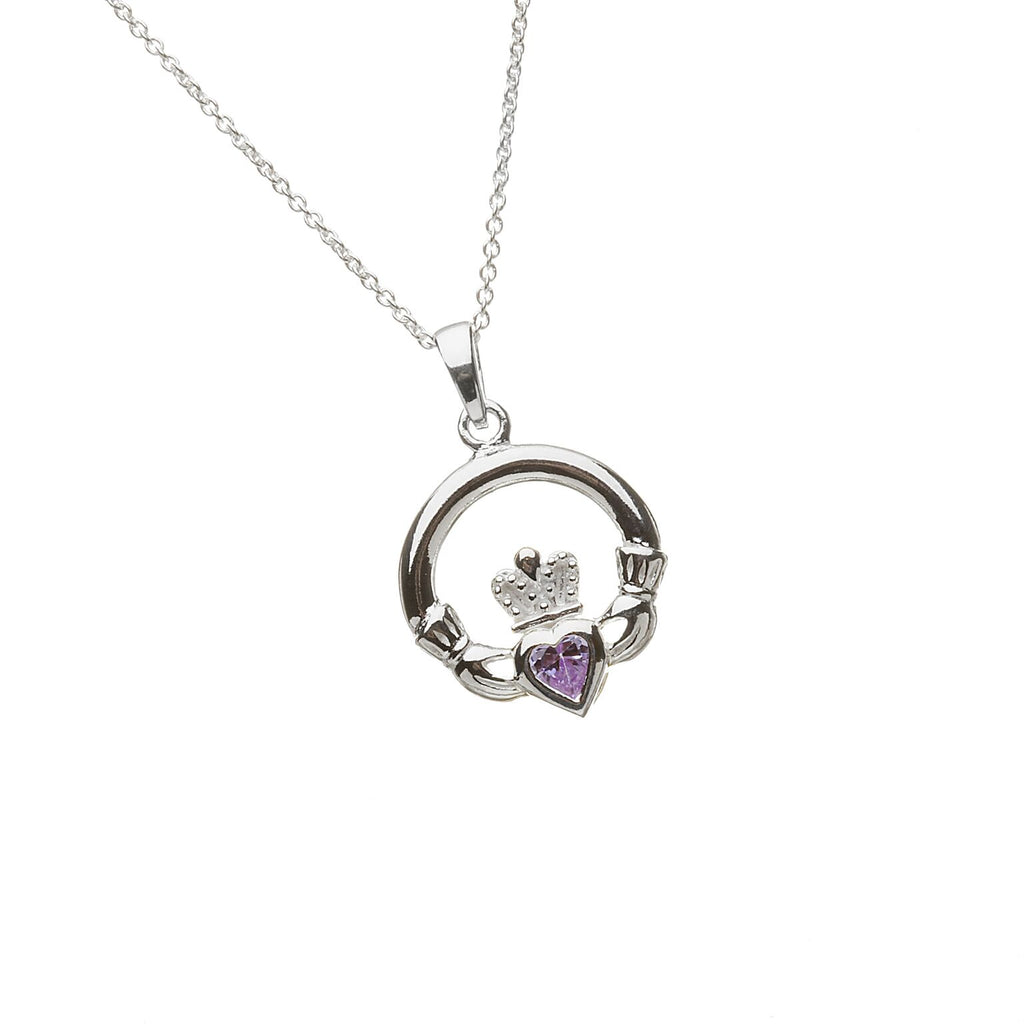 Sterling Silver Claddagh Pendant Set with Heart Shaped Birthstone (CZ Amethyst) February