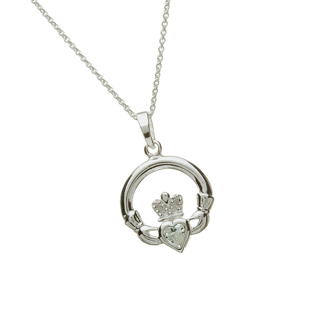 Sterling Silver Claddagh Pendant Set with Heart Shaped Birthstone (CZ) April