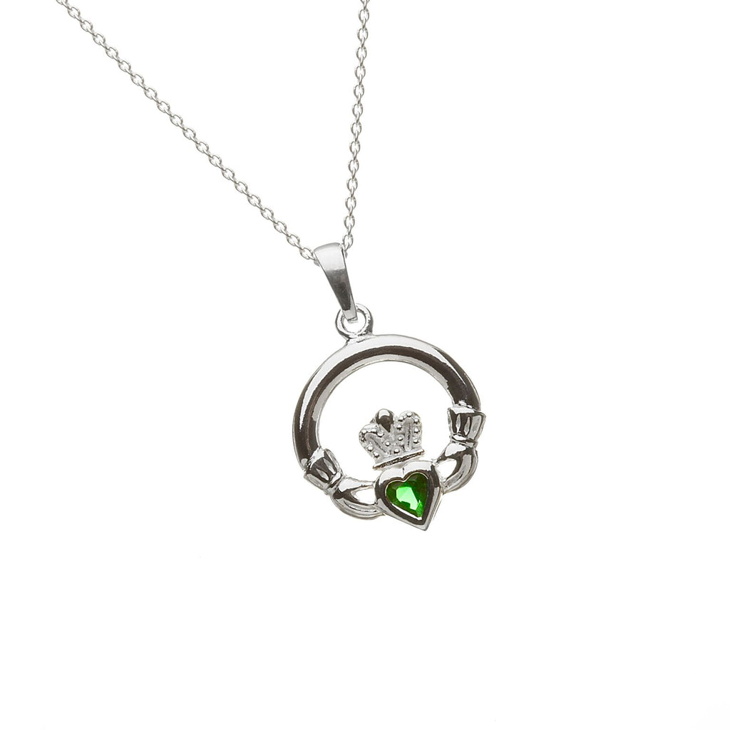 Sterling Silver Claddagh Pendant Set with Heart Shaped Birthstone (CZ Emerald) May