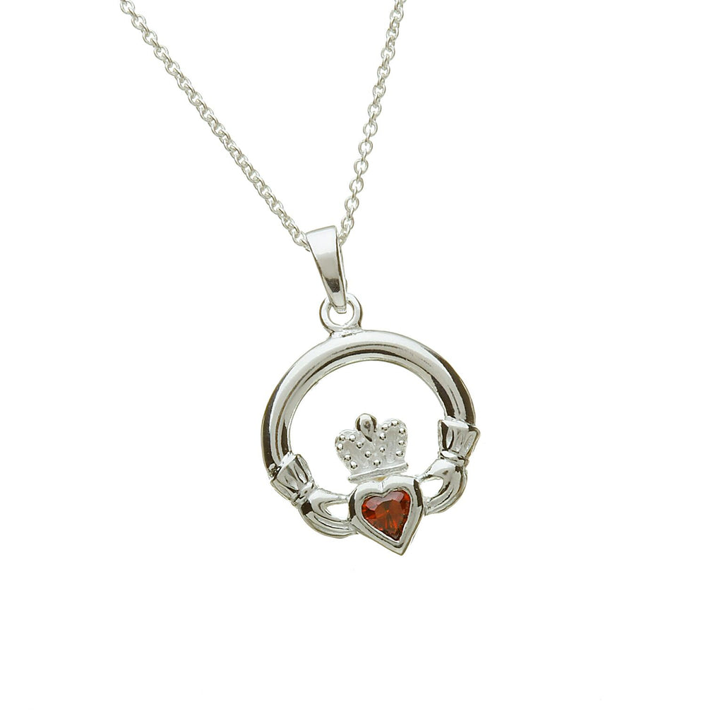 Sterling Silver Claddagh Pendant Set with Heart Shaped Birthstone (CZ Garnet) January