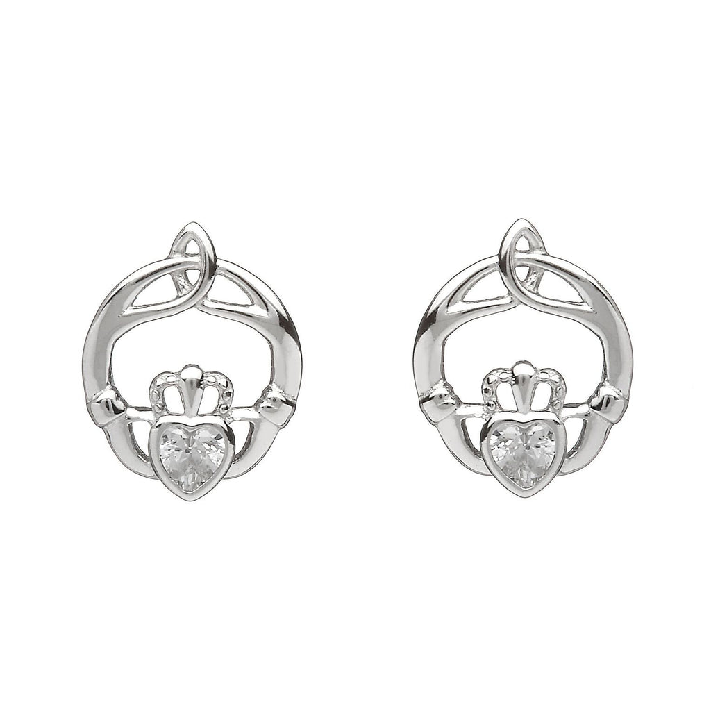 Sterling Silver Childrens Birthstone Stud Earrings April (CZ)