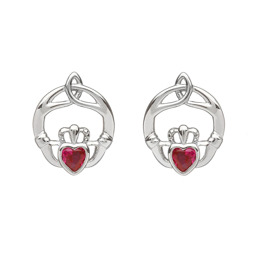 Sterling Silver Childrens Birthstone Stud Earrings July (Ruby CZ)
