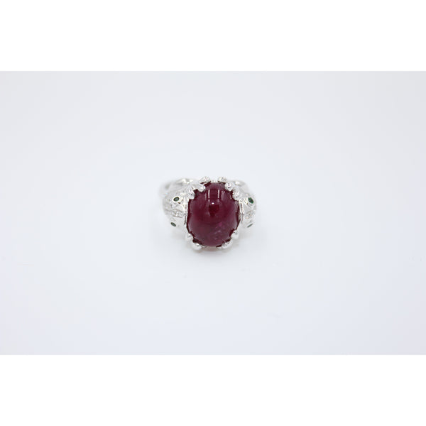0.32 ct Diamond Double Luck Frog 18K Ring with 6.52 ct Red Tourmaline