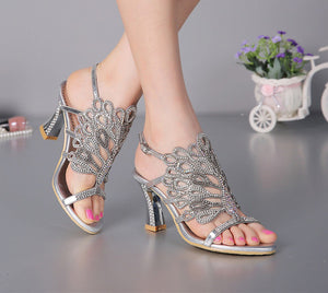 Chunky Heel Floral Silver Rhinestone Shoes