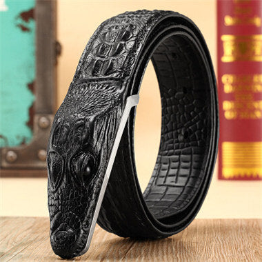 Crocodile Pattern Genuine Leather Belt