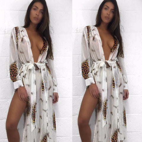 Rayon Print Long Dress Cover Up