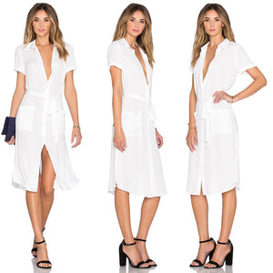 Summer White Shirt Dress