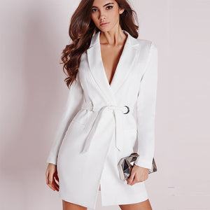 V Neck Slim Bandage Long Blazer Dress
