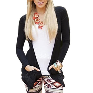 Sexy Black Long Sleeved Cardigan