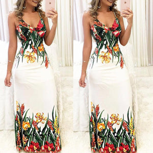 Women's Summer Long V Neck Dress