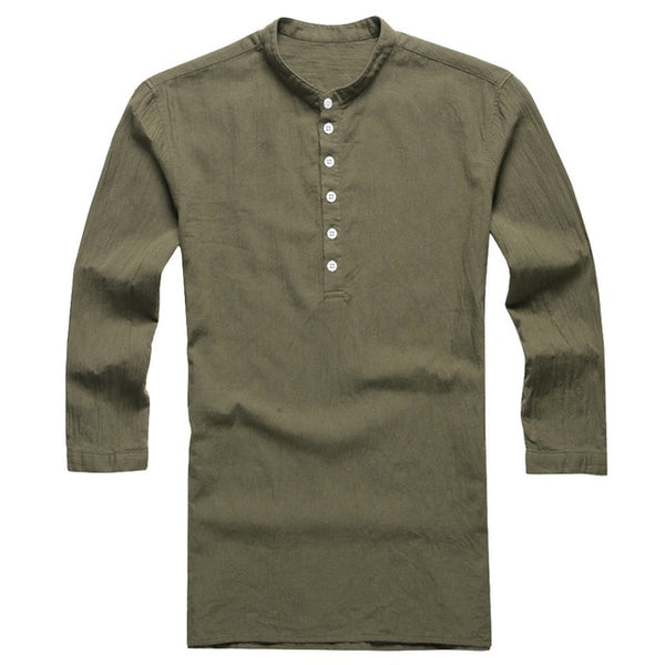Men's Cotton Linen Button