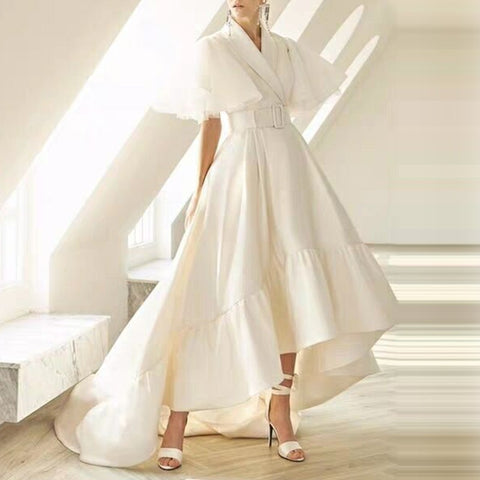 V Neck Cloak Sleeve High Waist With Sashes Asymmetrical Long Dress