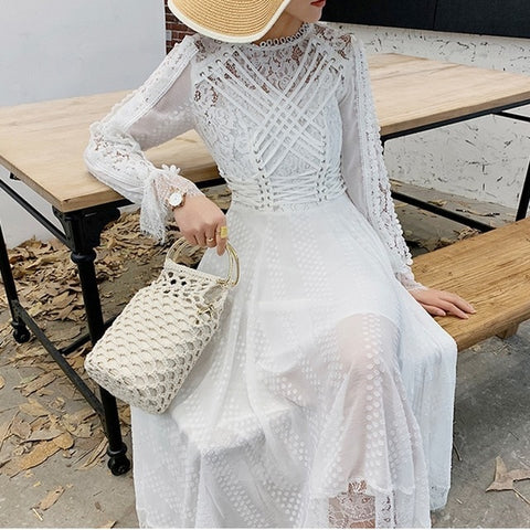 Lace Embroidery Long Dress