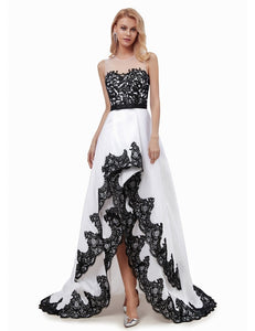 Elegant Ruffle Asymmetrical Lace Appliques Dress