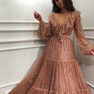 Royal Pink long sleeves sequins a-line dress