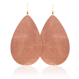 Vintage Rose Teardrop Leather Earrings