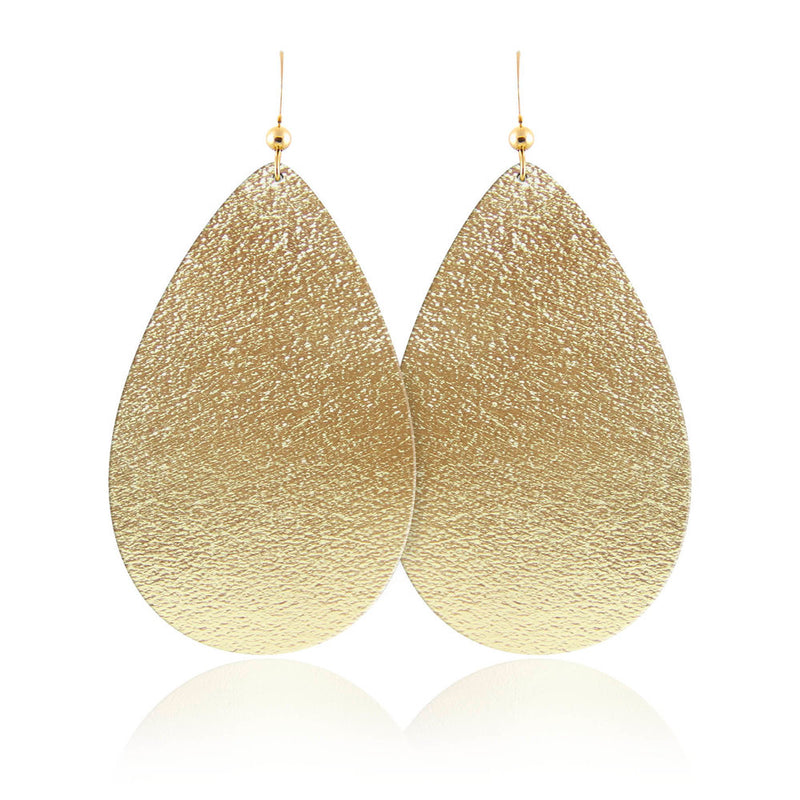 Golden Goddess Teardrop Leather Earrings