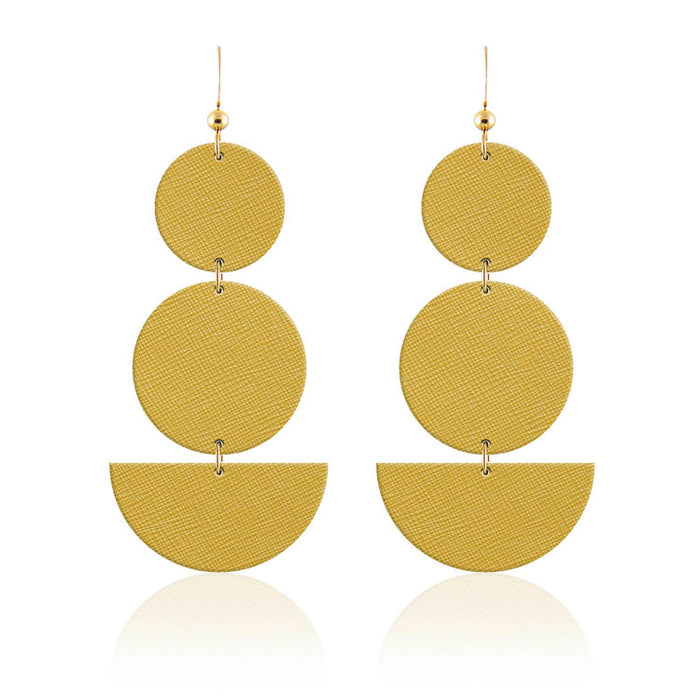 Geo Drop Leather Earrings