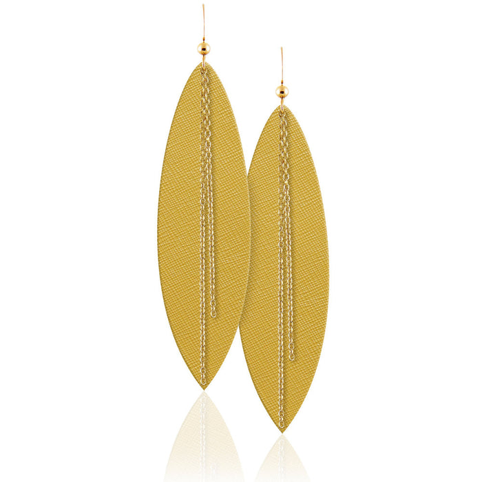 Mustard Linked Leather Earrings