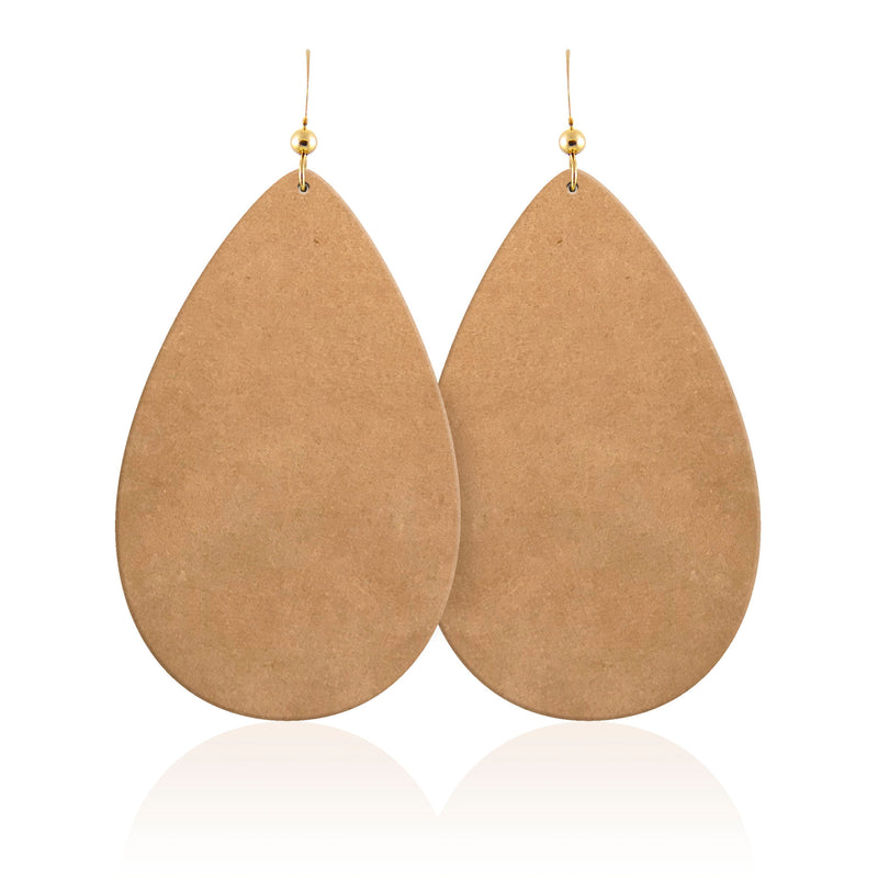 Camel Suede Teardrop Leather Earrings