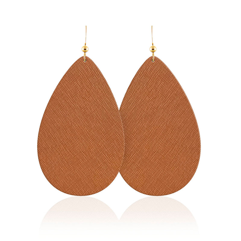 Tan Teardrop Leather Earrings