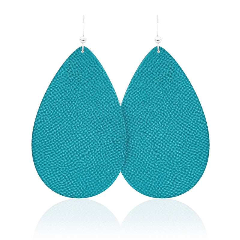The Ocean Blue Teardrop Leather Earrings