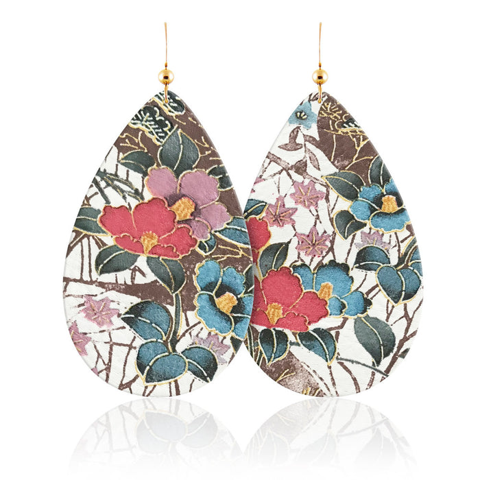 White Floral Teardrop Leather Earrings