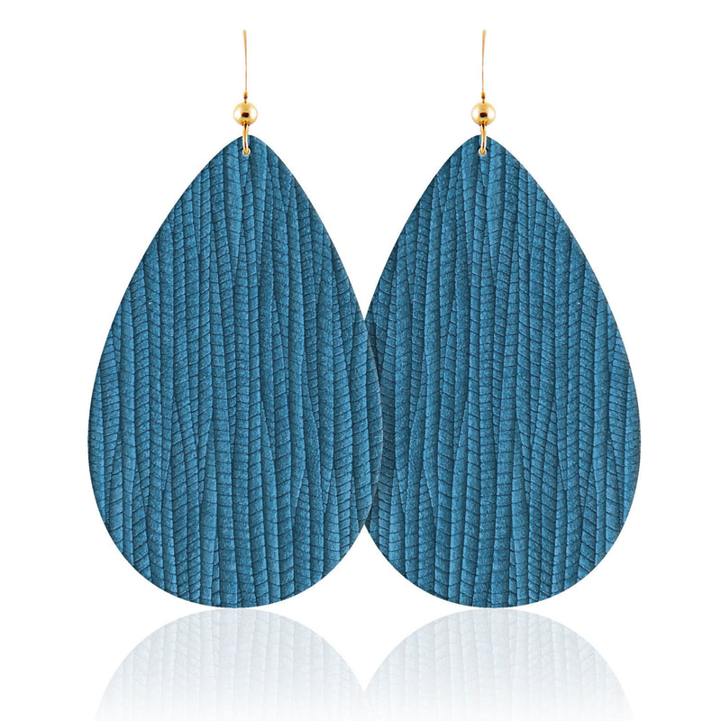 Coastal Teardrop Leather Earrings