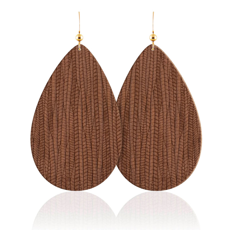 Sequoia Teardrop Leather Earrings