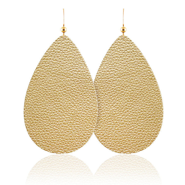 Soft Metallic Teardrop Leather Earrings