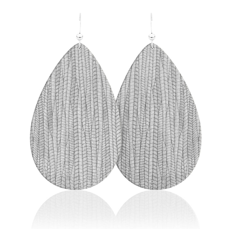 Ash Teardrop Leather Earrings
