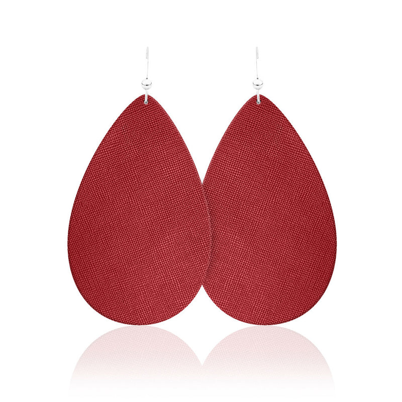 True Red Leather Earrings
