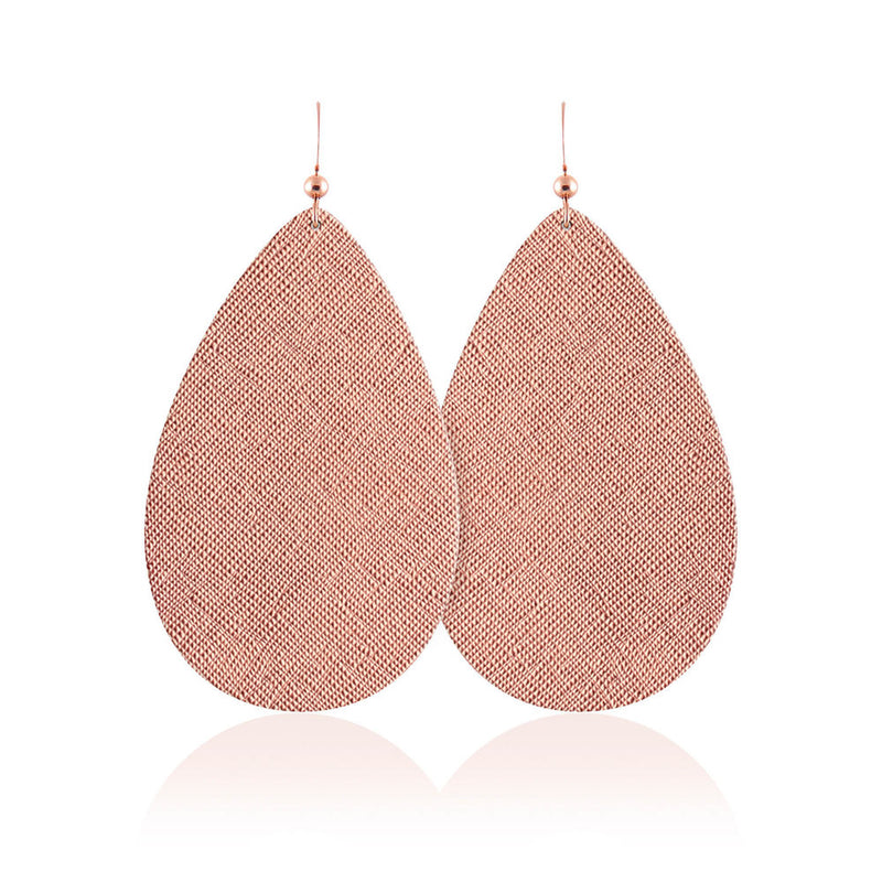 Rose Luster Teardrop Leather Earrings