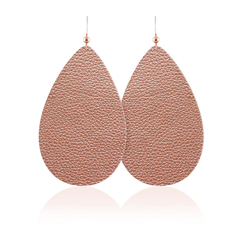 Rose Gold Teardrop Leather Earrings