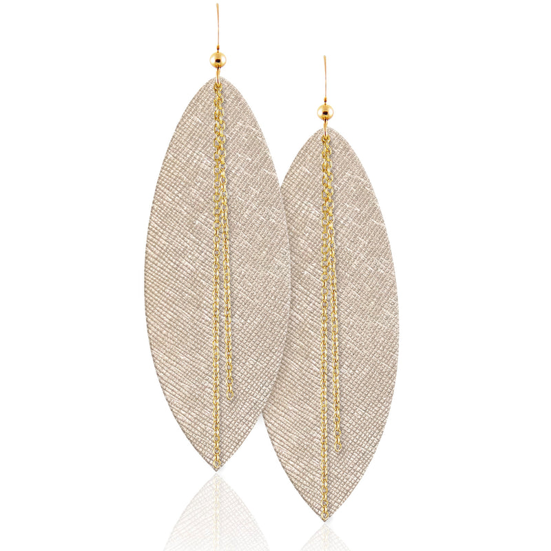 Vanilla Luster Linked Leather Earrings