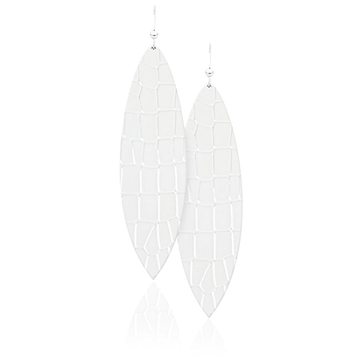 White Croc Leather Earrings