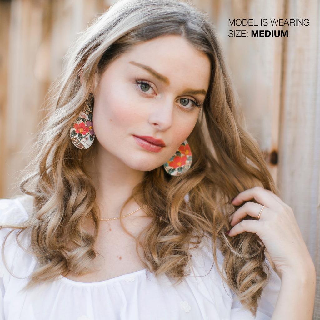 White Floral Leather Earrings