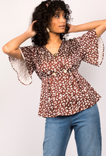 Abstract Leopard Print Top In Mocha