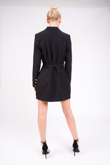 Tailored Blazer Dress With Gold Buckle And Buttons