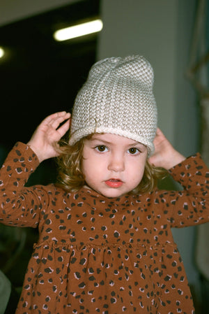 BABY SEED STITCH HAT CREAM/CAMEL