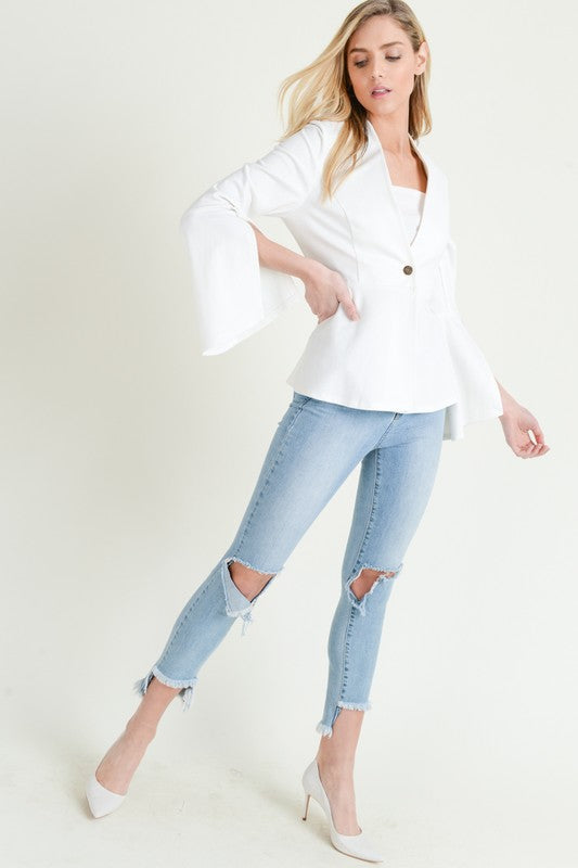 Pep In Your Step White Peplum Jacket