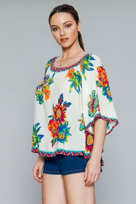 Tiki Time Off the Shoulder Top Ivory